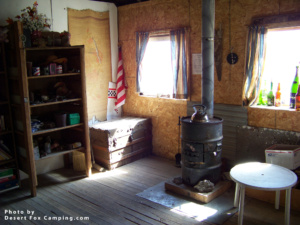 desert cabin with wood stove